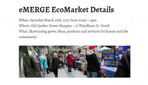 Guelph eMERGE EcoMarket March 25th 2017