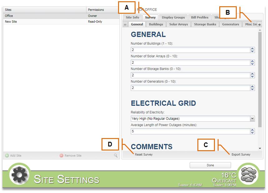 Screenshot for MyEyedro Client - Survey Tab
