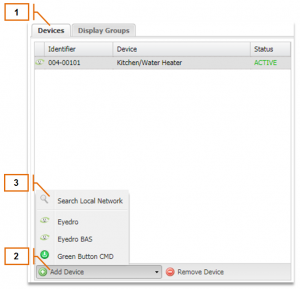Screenshot of MyEyedro Client - Adding Device By Network