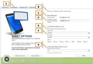 MyEyedro User Settings-alert Options