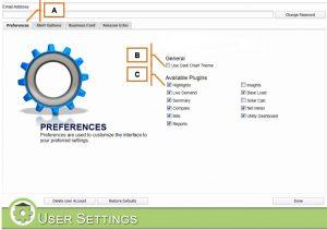 MyEyedro User Settings Preferences Tab