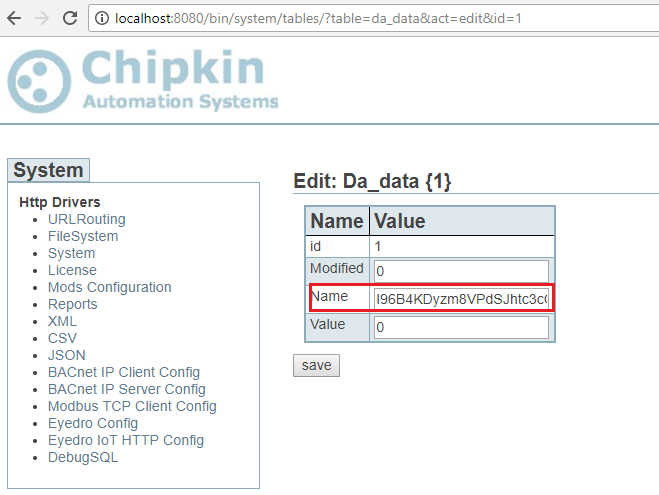 Screenshot of Edit Name Field with Access Key
