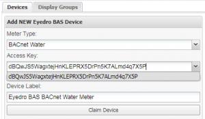 Screenshot of Eyedro BAS Device Access Key