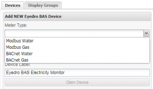 Screenshot of MyEyedro BAS Device Meter Type