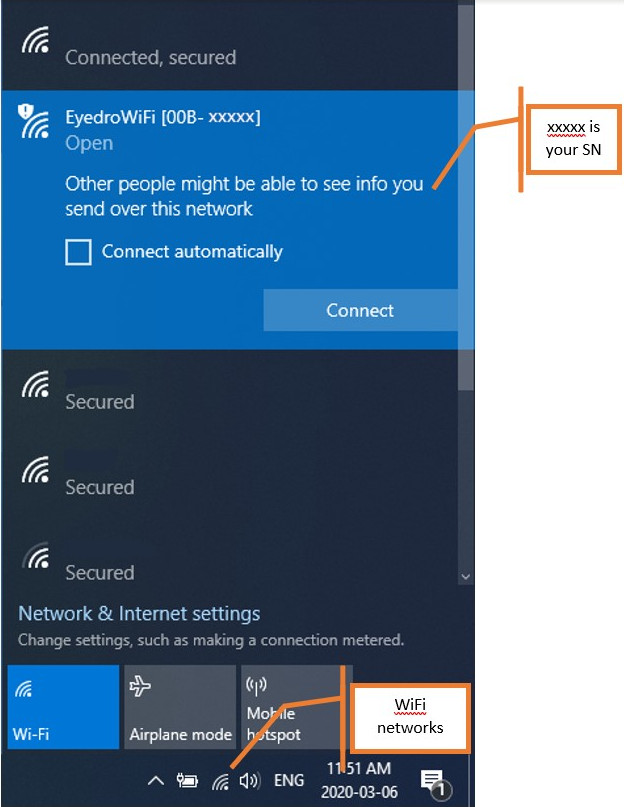 EYEFI in Available WiFi Network List