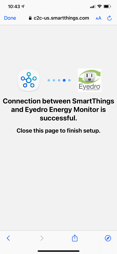 Samsung SmartThings Connection to Eyedro