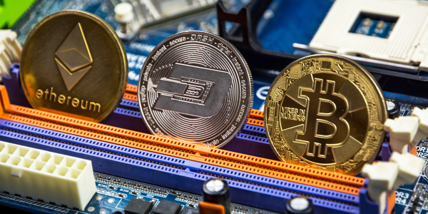 Cryptocurrency coins on computer